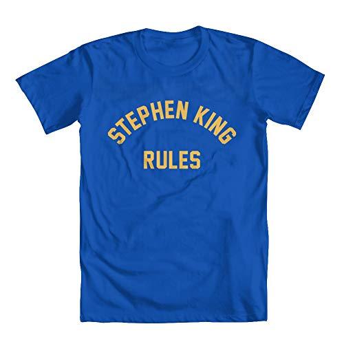 GEEK TEEZ Stephen King Rules Youth Boys' T-Shirt Blue Medium
