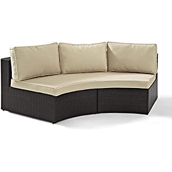 Crosley Furniture Catalina Outdoor Wicker Round Sectional Sofa With Sand  Cushions   Brown