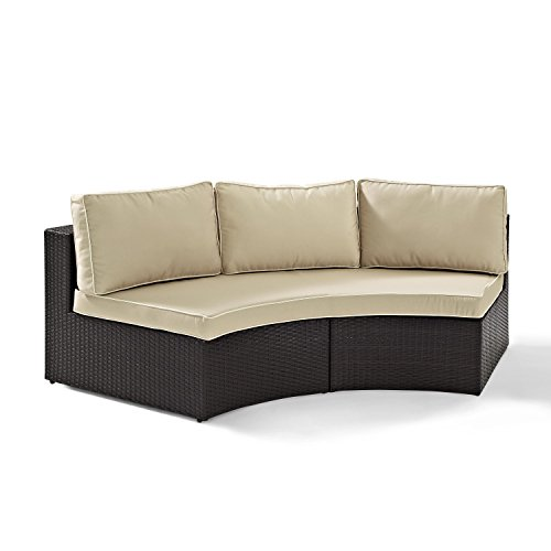 Crosley Furniture Catalina Outdoor Wicker Round Sectional Sofa with Sand Cushions - Brown (Outdoor Round Sectional Furniture)
