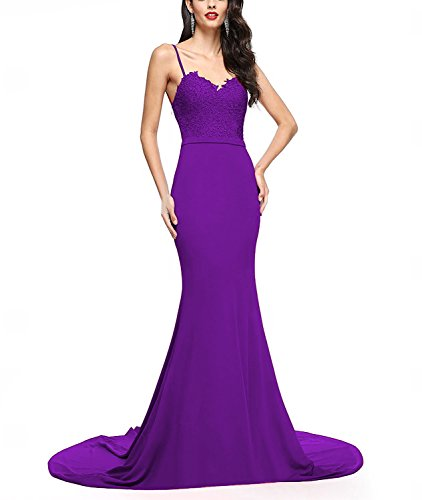Long Prom Aurora Dresses Evening with Gown Train Purple Formal Women's 2018 qEZqwAHt
