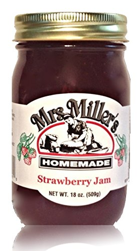 Mrs. Miller's Amish Homemade Strawberry Jam 18 oz/509g No Corn Sugar - No Preservatives - All Natural Goodness In Every Jar (Pumpkin Pie Amish)