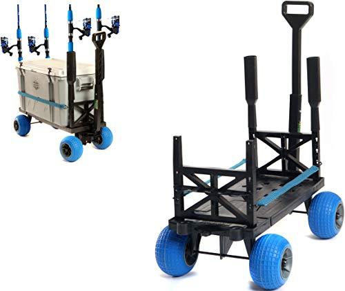 Pier Fishing Cart Gear Marine Dock Carts Wagon Trolley with 4 Wheels Fish Pole Rod Holder