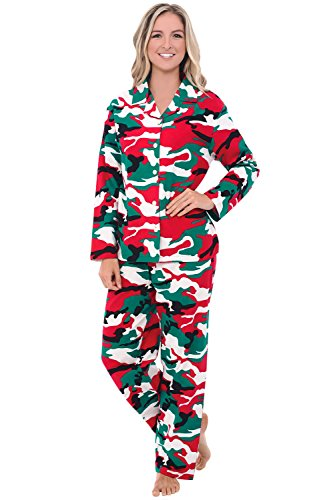 Camouflage Flannel (Alexander Del Rossa Womens Flannel Pajama Set, Long Cotton Pjs, Large Christmas Camouflage (A0509N26LG))