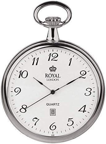 [ロイヤルロンドン] ROYAL LONDON ポケットウォッチ シンプル オープンフェイス カレンダー付き シルバー 90015-01 懐中時計 [並行輸入品]