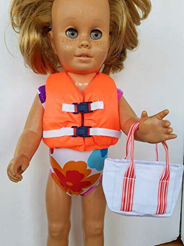Orange Lifejacket with Navy Buckles + Swimsuit + Tote Bag + Food fits Chatty Cathy