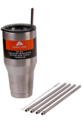 4 WIDE Stainless Steel Straws Ozark Trail 40-Ounce Double-Wall Rambler Vacuum Cups - CocoStraw Brand Drinking Straw (4 Straws 40oz)