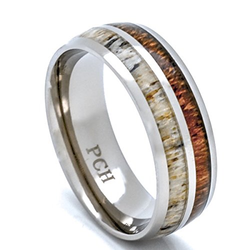 Deer Antler and Koa Wood Ring Titanium Mens Wedding Band Comfort Fit (9)
