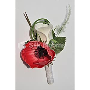 Elegant Fresh Touch Red Anemone & White Rose Wedding Buttonhole 48