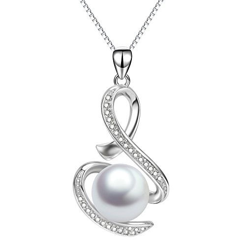 Infinity Necklace Sterling Silver Pearl Drop Pendant Necklace Wedding Anniversary Gifts for ()