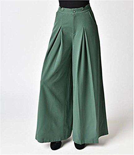 Eleganti Tempo Pantaloni Gamba Donna High Estivi Fashion Straps BIRAN Pantaloni Colori Larga Sciolto Libero Vintage Pantaloni Solidi Grün Palazzo Waist Grazioso Pantaloni Pants PwUqCpxa