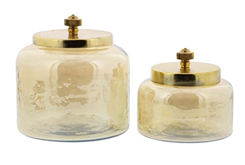Deco 79 94968 Gold-Finished Glass Jars with Iron Lids (Set of 2), 4