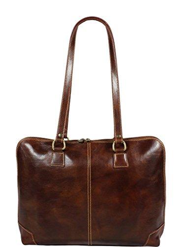 Schöne praktische Leder Braune Handtasche aus Leder Lucrezia Marrone über die Schulter