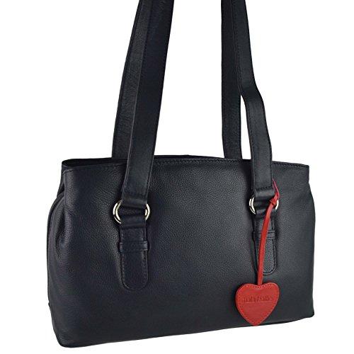 Mujer Mala Al Marino Morado Rojo Hombro Bolso Azul Para Leather wHwB7