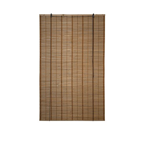 - ALEKO BBL39X64BR Light Brown Bamboo Roman Wooden Roll Up Blinds Light Filtering Shades Privacy Drape 39 X 64 Inches