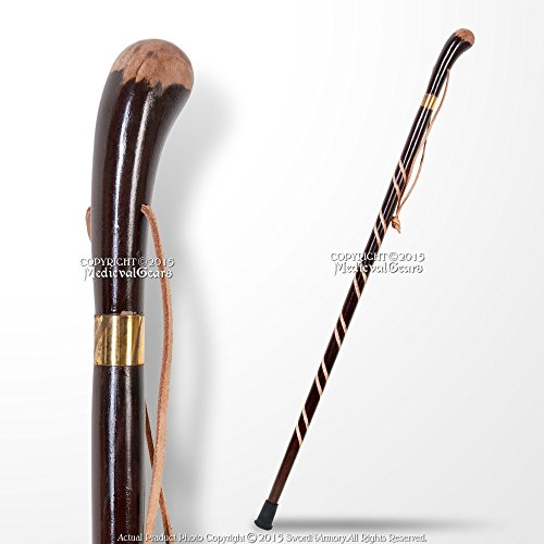 Medieval Gears Brand Solid Wooden Walking Stick Round Grip Gentlemen Spiral Fluted Walking Cane -