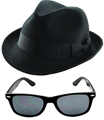 GUBA Men's 1980's Blue Brothers et Costume Hat Tie Glasses Sideburns One Size - Costume Blues The Brothers