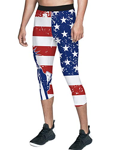 American Flag Workout Pants - Queen Area Men's Compression 3/4 Capri Pants Workout Training Pants American Flag Running Sports Leggings L