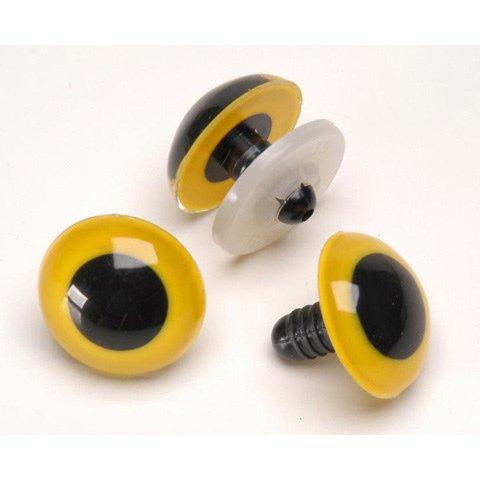 9mm Yellow Animal Eyes - Bulk with metal washer - 100 (Yellow Animal Eyes)