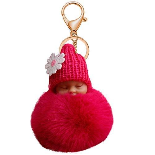 Goodup cute Sleeping Baby doll Keychain, pom pom Doll Faux peluche palla portachiavi borsa accessori auto ciondolo per donna (rosa chiaro) Violet