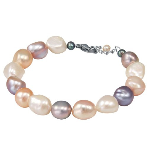 Dahlia Baroque Tri-color Cultured Pearls Bracelet with Stainless Steel Clasp (8-9mm), 7