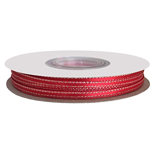 DUOQU 1/8 inch Wide Double Face Silver Metallic-Edge Satin Ribbon 50 Yards Roll Red