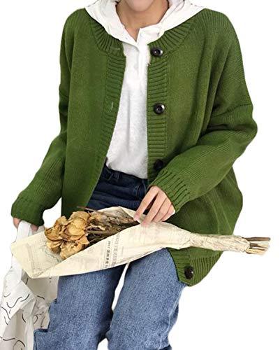 Gergeousニット カーディガン 長袖 ゆったり ニットアウター 秋冬 セーター 前開き 無地 カジュアル bf風 韓国ファッション ボタン カーディガン