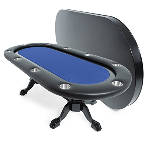 Elite Poker Table for 10 Players with Blue Speed Cloth Playing Surface, 94 x 44-Inch Oval, Includes Matching Dining Top