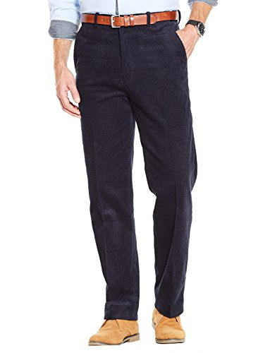 Mens Luxury Cotton High Rise Corduroy Adjustable Trouser Pants Navy 34W x 27L