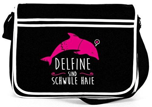 Shirtstreet24, Delfine sind schwule Haie, Natur Retro Messenger Bag Kuriertasche Umhängetasche Schwarz