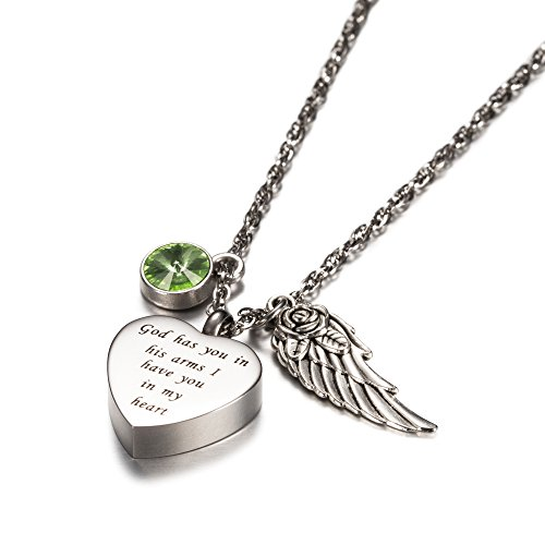 AMIST God has You in his arms with Angel Wing Charm Cremation Jewelry Keepsake Memorial Urn Necklace with Birthstone Crystal (August1)