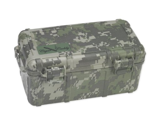 Cigar Caddy 3540 Camo 15 Cigar Waterproof Travel Humidor, Digital Camouflage Exterior
