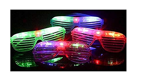 12 pieces Flashing LED Light up Slotted Shutter Sunglasses Shades Party Favors Bag Fillers (12) -