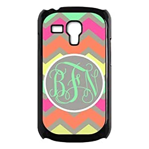 Green Gray Orange Chevron Colorful Zigzags Monogram Green Initials Or Name Personalized Custom Best Plastic Case for Samsung Galaxy s3 MINI ,Black or White for Choice