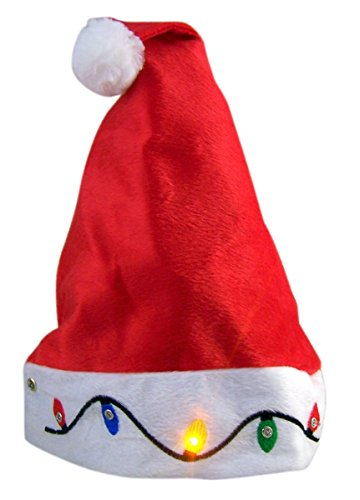 Red Santa Hat with Lighted Embroidered Christmas Lights -