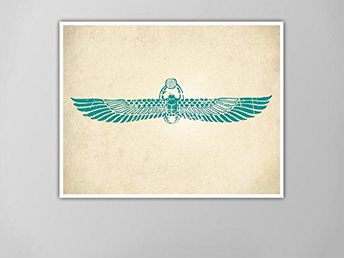 (Winged Scarab Print, Egyptian Art Print, Home Decor, Winged Scarab Poster, Wall Art, Ancient Egyptian Style Art, Winged Scarab Beetle Print)