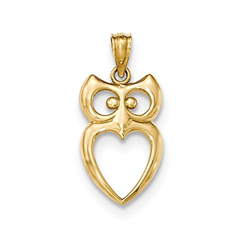 14k Yellow Gold Cut Out Owl Pendant Charm Necklace Bird Fine Jewelry Gifts For Women For Her ()