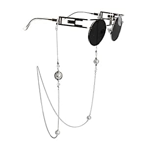 Kalevel® Eyeglass Holder Necklace Eyeglass Chain Beaded Glasses Sunglasses Chain Eyeglass Chains and Cords for Women (Silver)