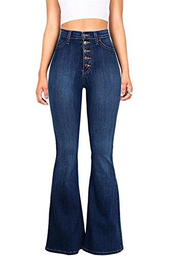 Un Pantalon Bell Stretch Fond Taille Flare Jean Femmes Haute Denim Darkblue Les Juniors q48Enz