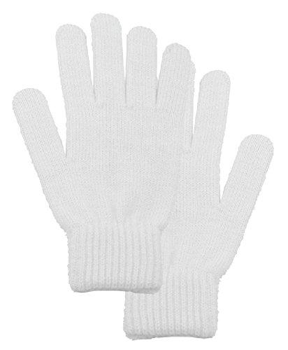 Men / Women's Winter Knit Solid Color Gloves Magic Gloves, White
