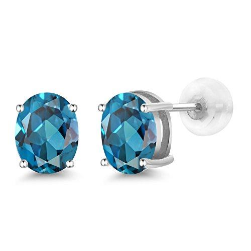 Gem Stone King 2.60 Ct Oval 8x6mm London Blue Topaz 14K White Gold Stud Earrings