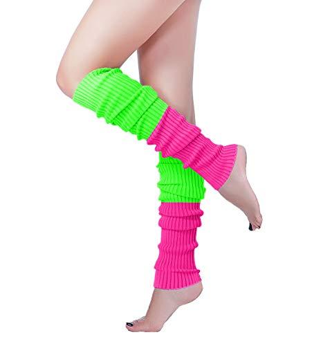 Long Leg Warmer, V28 Women's Men 80s Party Ribbed Knit Dance Sports (61co-ro+gn)