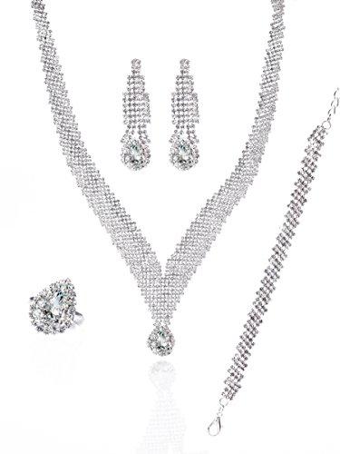 Brass Tone Crystals - MOOCHI Silver-Tone Crystal Scarf Shape Cubic Zirconia Pendant Necklace Jewelry Set