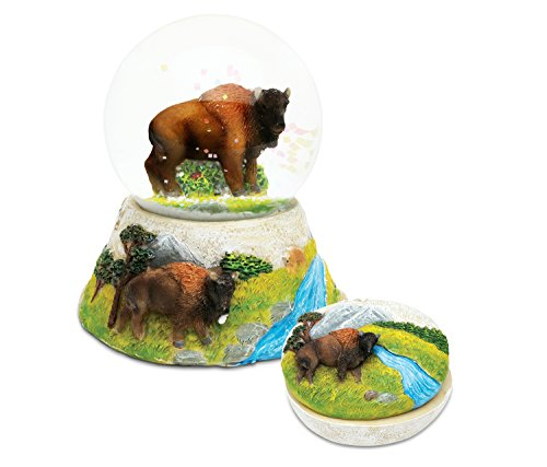 Puzzled Buffalo Resin Stone Collection Jewelry Box and Snow Globe - Unique Elegant Gift and Souvenir