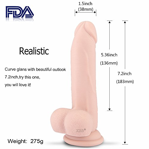 "XBB 7.2"" Big Dildo Liquid Silicone Penis Realistic Kit with Suction Base, included Handy Bag, Vibrating Bullet(Flesh)"
