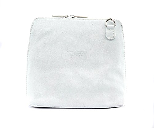 Suede Italian Bag Genuine Shoulder Womens Cross Vera pelle Body Small Craze White Strap Real London Designer xqI4w8SqP