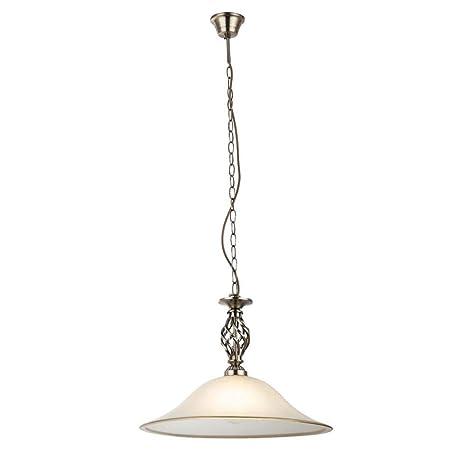 Lámpara de techo de cristal de latón satinado.: Amazon.es ...