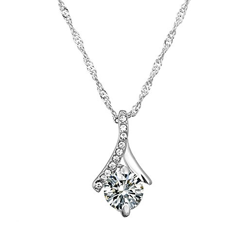 [Afterglow Solitaire 18k Gold Filled Pendant Necklace created with Austrian Crystal Elements] (Big Sister Little Sister Costumes)