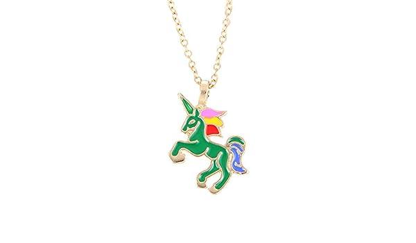 193c662f55a3 AIUIN 1Pcs Collar de Mujer Colgante en Unicornio Collars de Plateado  Joyería y Decoración (Con un bolso de joyería) (Dorado + Verde)  Amazon.es   Deportes y ...