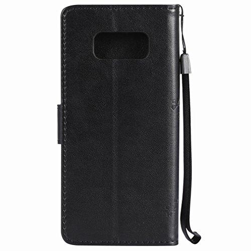 Yiizy Samsung Galaxy S8 Custodia Cover, Alberi Disegno Design Sottile Flip Portafoglio PU Pelle Cuoio Copertura Shell Case Slot Schede Cavalletto Stile Libro Bumper Protettivo Borsa (Nero)