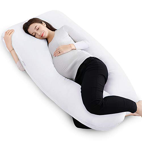 - QUEEN ROSE 55in Pregnancy Pillow- U Shaped Body Pillow for Back Support with Cotton Cover (Pure White)